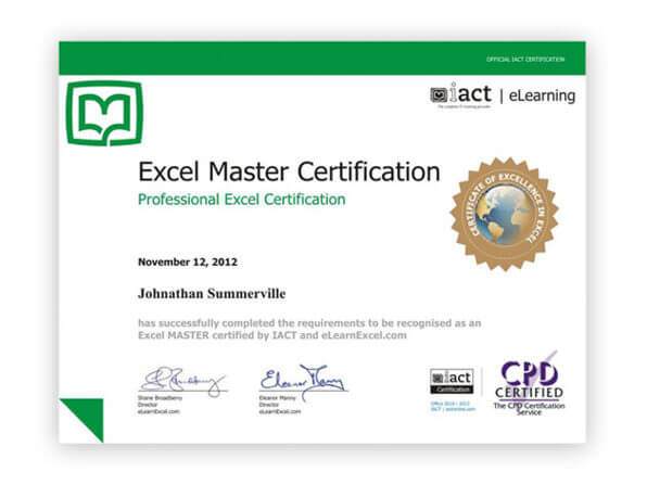 Microsoft excel elearnexcel certificattion
