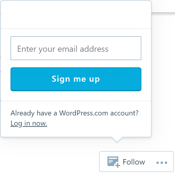 WordPress follow blog button